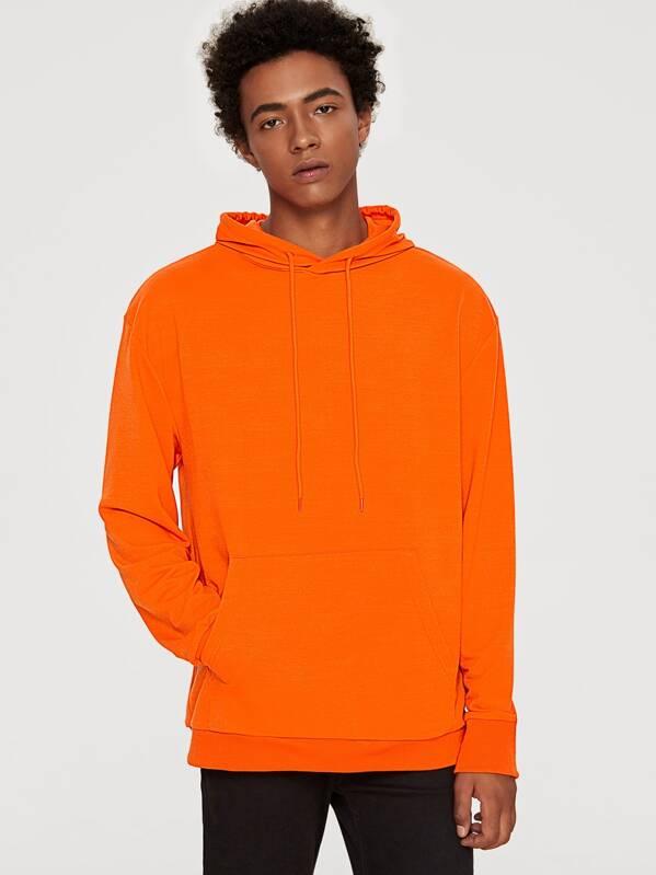 Guys Neon Orange Kangaroo Pocket Front Hoodie, Sory
