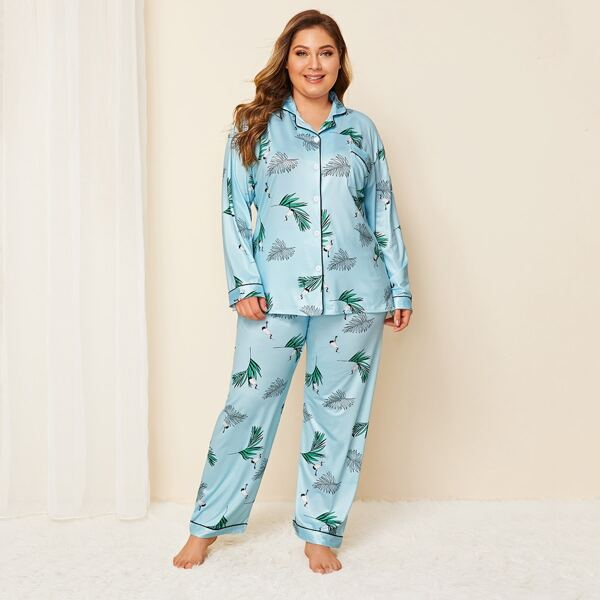 Plus Tropical & Crane Print Pajama Set