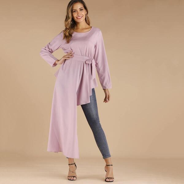 Self Tie Asymmetrical Longline Blouse, Pink