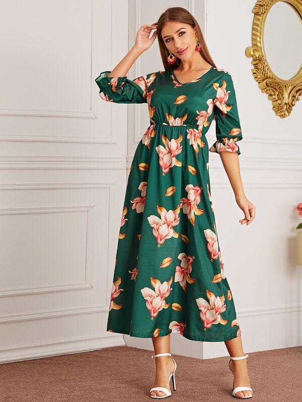 Large Floral Flounce Sleeve Gathered Waist Dress, Green, Hanna