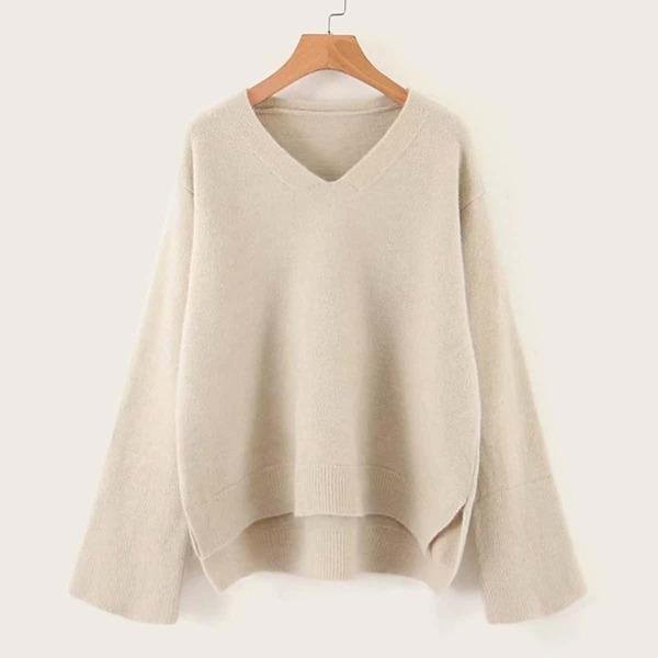 V-neck Drop Shoulder High Low Sweater