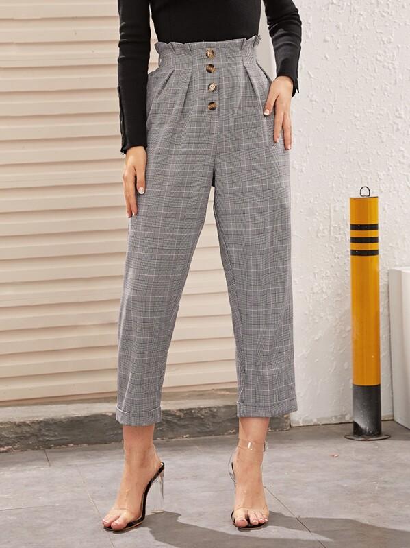 Plaid Paperbag Waist Tailored Pants, Tasha