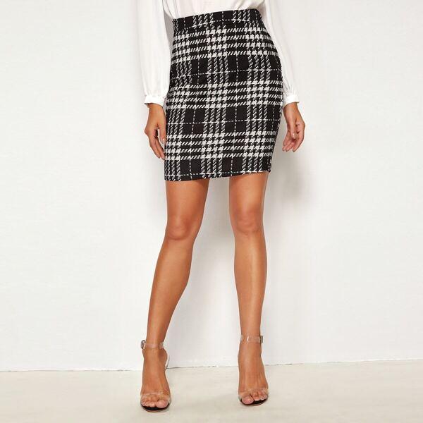 Plaid Textured Bodycon Skirt