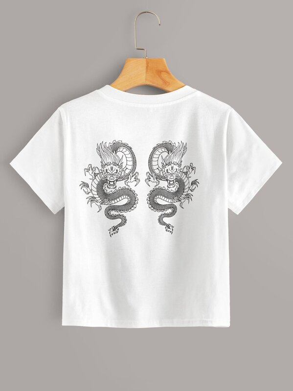 Dragon Print Round Neck Tee, Aleksandra J