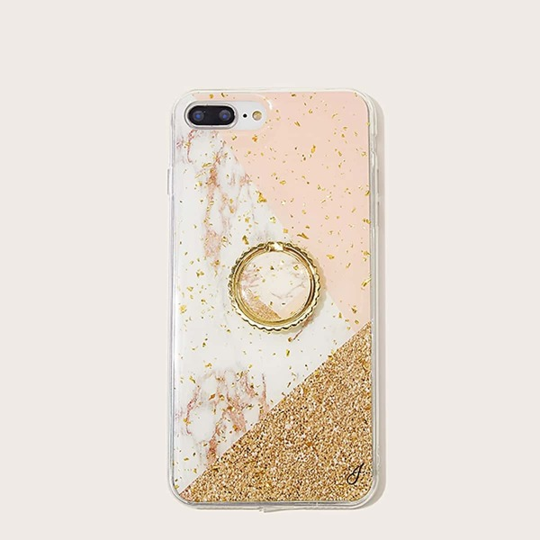 Marble Pattern iPhone Case With Ring