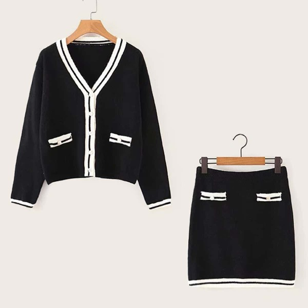 V-Neck Cricket Cardigan With Sweater Skirt