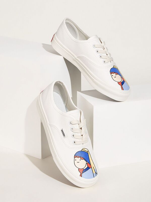 Figure Print Lace-up Front Sneakers, Multicolor