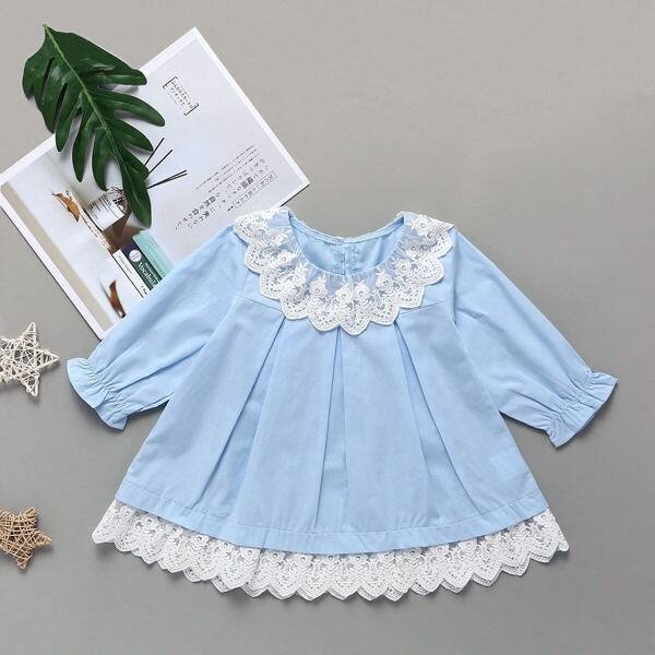 Baby Girl Lace Panel Frill Cuff Babydoll Dress