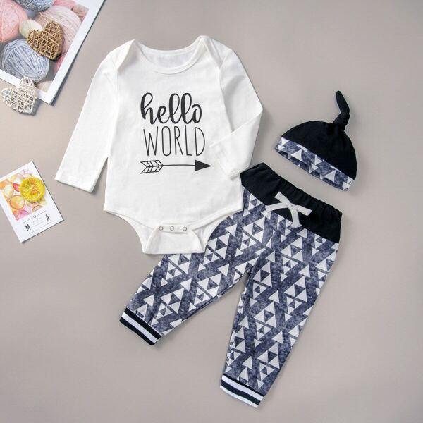 Baby Boy Letter Print Romper & Knot Front Sweatpants & Hat