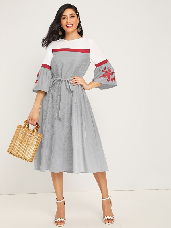 Embroidered Detail Bell Sleeve Self Belted Striped Dress, Jessica B