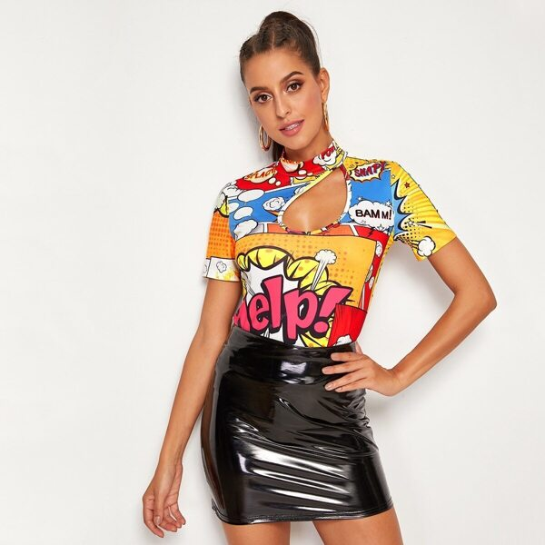 Graphic Print Cut-out Slim Top
