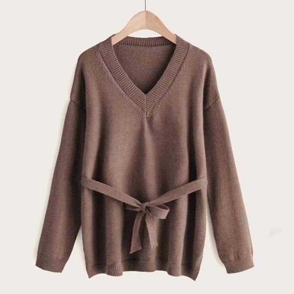 Solid V-neck Tie Front Drop Shoulder Sweater