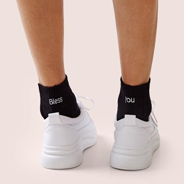 Slogan Embroidery Socks 1pair, Black