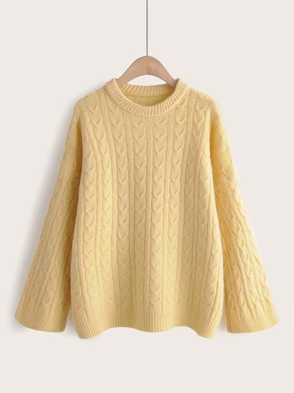 Round Neck Drop Shoulder Solid Sweater