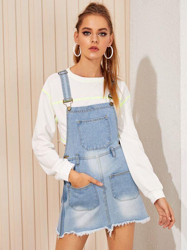 Pocket Front Raw Hem Dungaree Dress, April