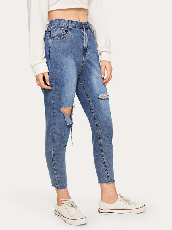 Solid Ripped Washed Mom Jeans, Tasha