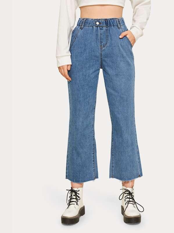 Solid High Rise Flare Leg Mom Jeans, Tasha