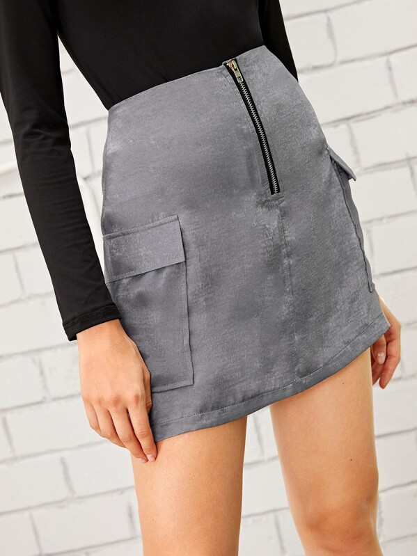 Side Flap Pocket Zip Front Cargo Skirt, Nikola