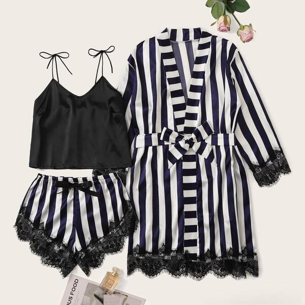 Striped Eyelash Lace Satin Cami PJ Set With Robe, Multicolor