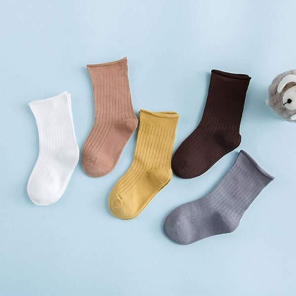 Toddler Kids Solid Socks 5pairs