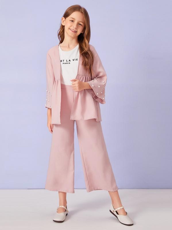 Girls Pearls Cuff Coat & Wide Leg Pants Set, Sashab
