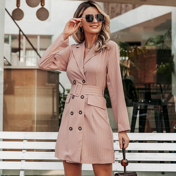 Simplee Striped Double Breasted Belted Blazer Dress, Pink pastel