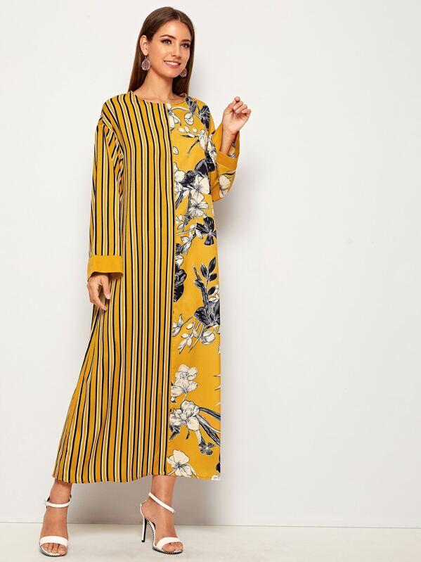 Striped & Floral Print Tunic Dress, Debi Cruz
