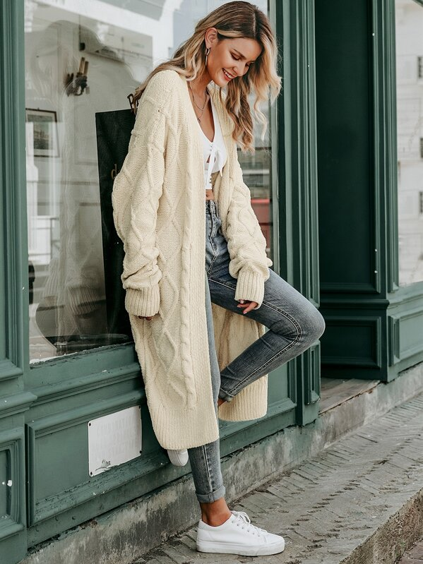 Simplee Open Front Cable Knit Cardigan