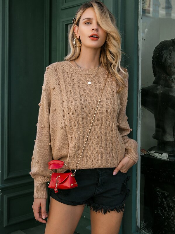 Simplee Pompom Detail Cable Knit Jumper