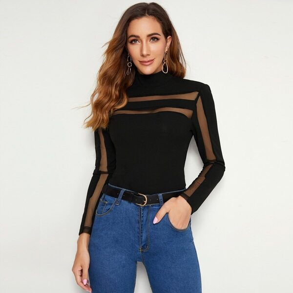 Mesh Insert Keyhole Back Solid Top