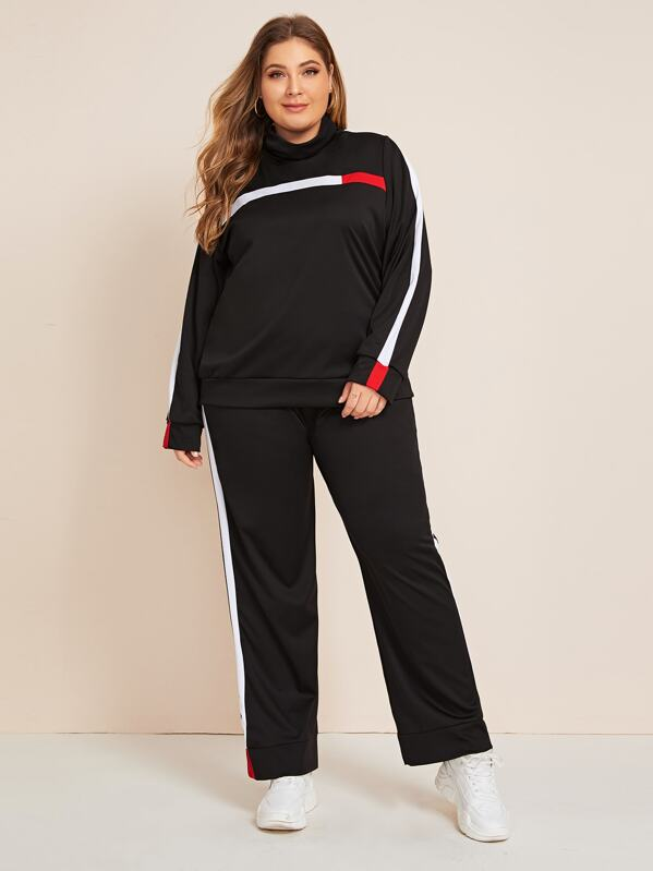 Plus Colorblock High Neck Sweatshirt & Sweatpants Set, Carol