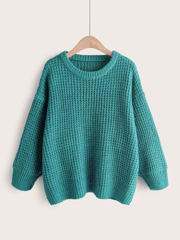 Drop Shoulder Round Neck Sweater