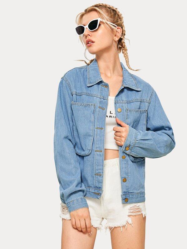 Button Through Pocket Detail Denim Jacket, Tasha