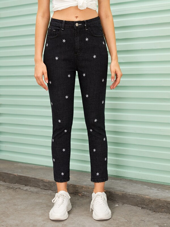 Floral Embroidered Button Fly Carrot Jeans, Nikola