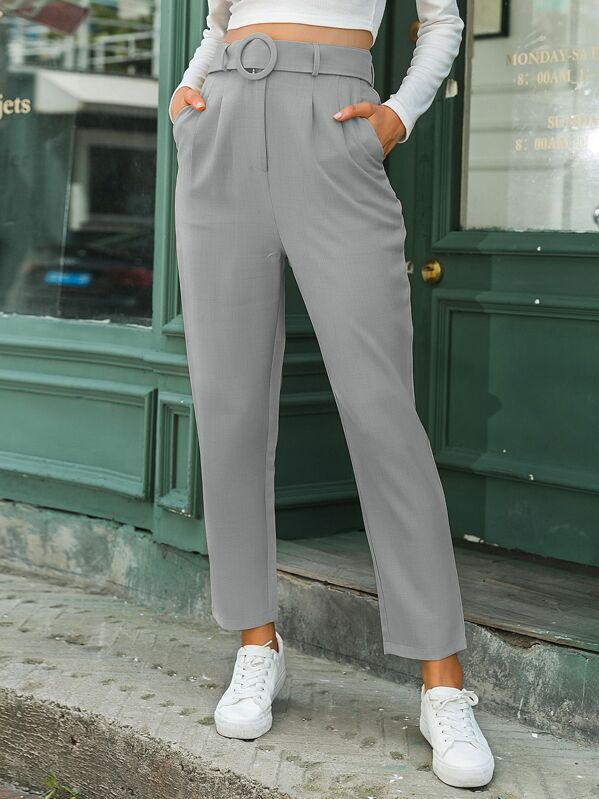 Simplee Solid Belted Tailored Pants