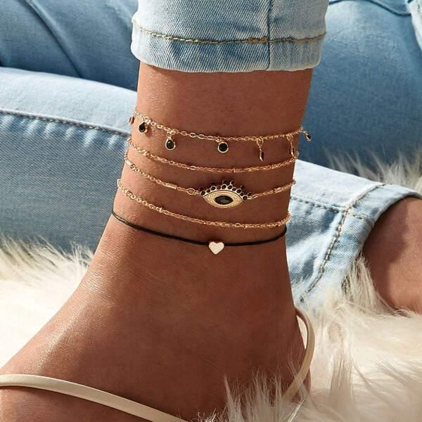 Eye & Heart Decor Chain Anklet 4pcs