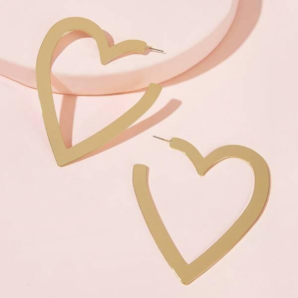 Cuff Heart Hoop Earrings 1pair
