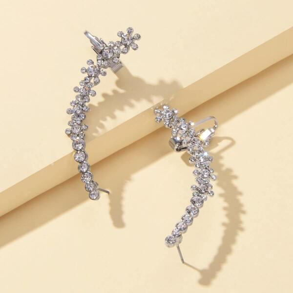 Rhinestone Engraved Bar Design Earrings 1pair