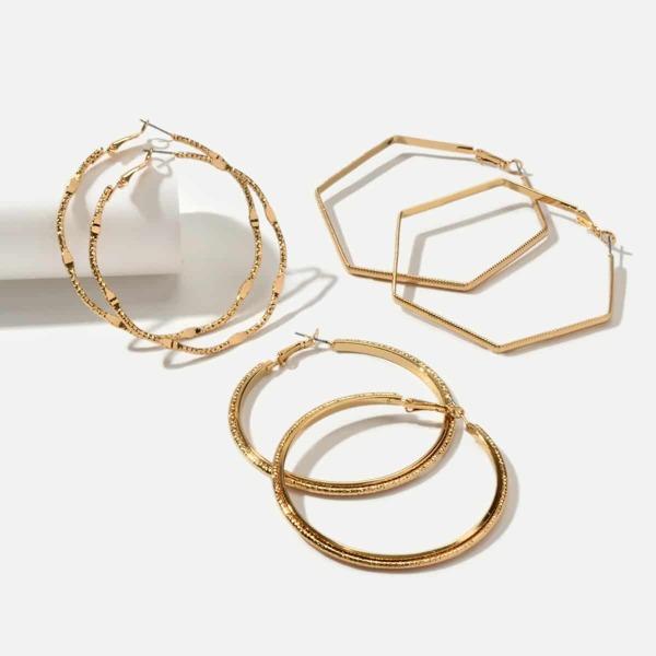 Geometric Hoop Earrings 3pairs