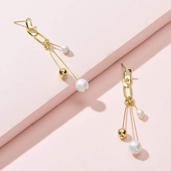 Faux Pearl Decor Bar Drop Earrings 1pair
