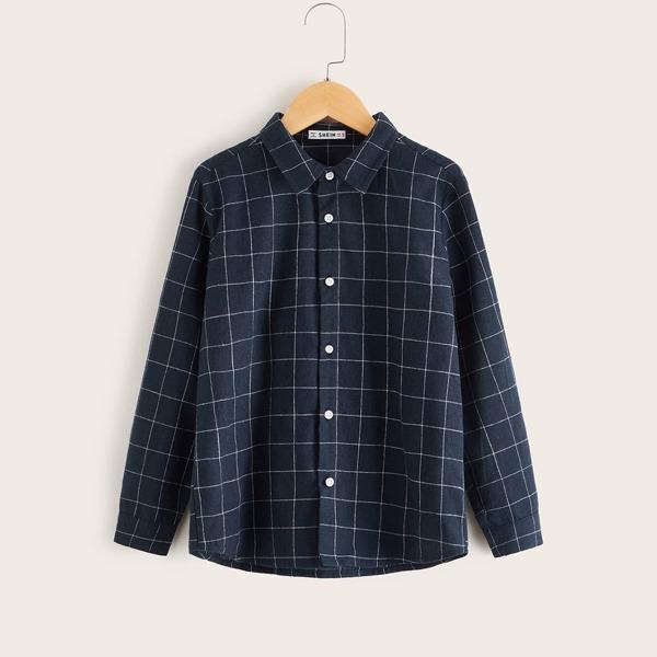 Boys Grid Print Shirt