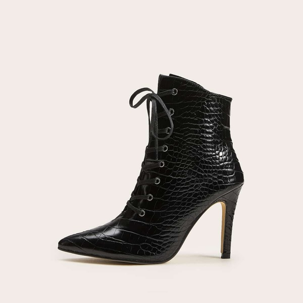 Point Toe Croc Embossed Stiletto Boots
