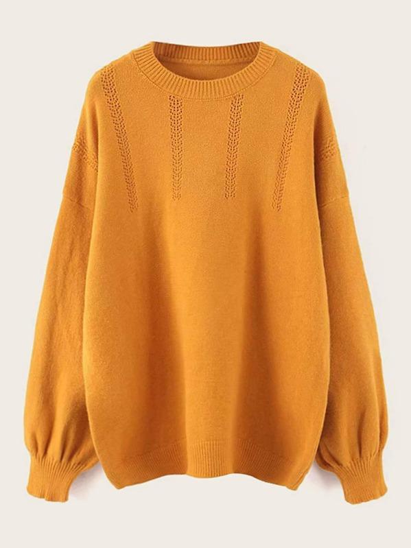 Solid Round Neck Drop Shoulder Sweater