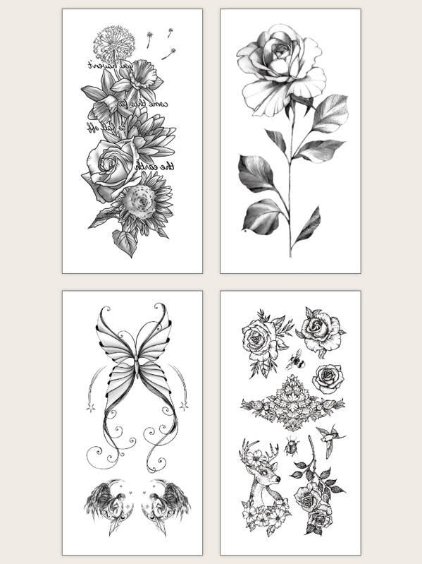 Butterfly & Flower Pattern Tattoo Sticker 4pcs
