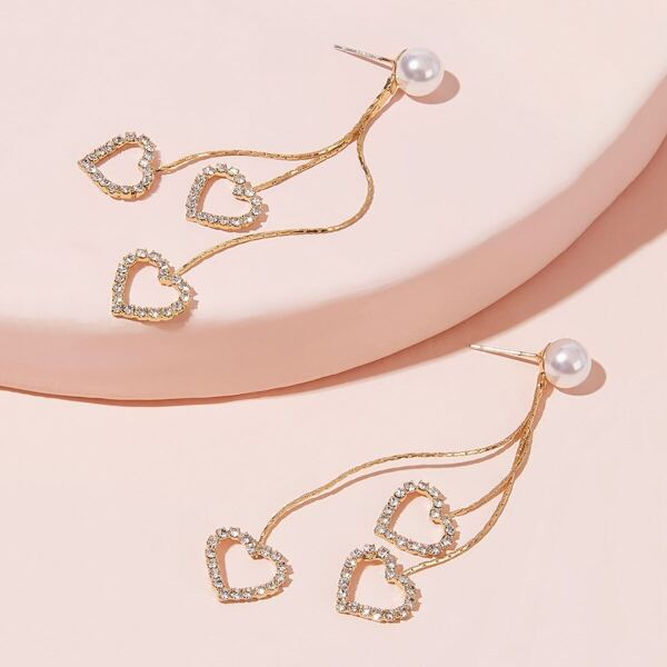 Faux Pearl Decor Rhinestone Engraved Heart Drop Earrings 1pair, Gold