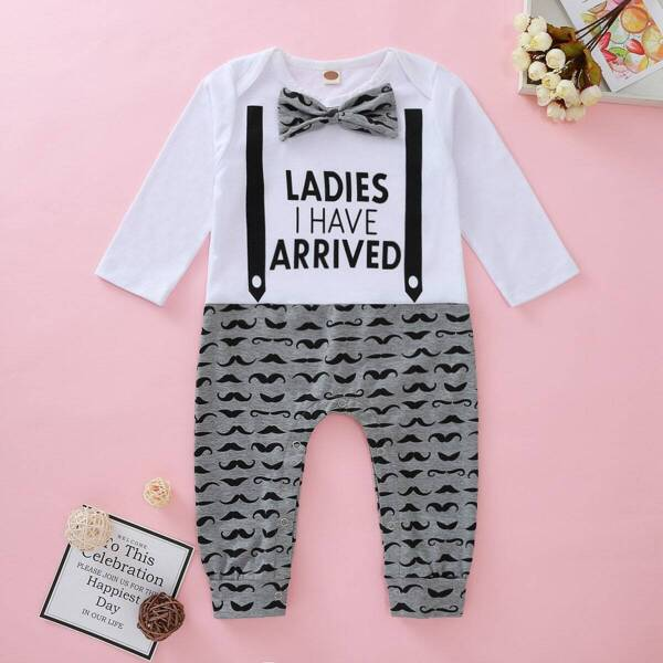Baby Girl Slogan Print Bow Tie Spliced Jumpsuit