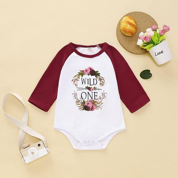 Baby Girl Floral Contrast Raglan Sleeve Romper