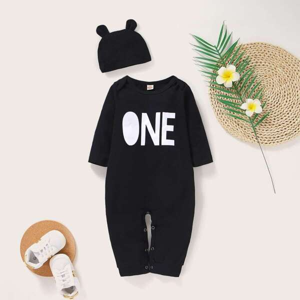 Baby Boy Letter Print Popper Jumpsuit With Hat