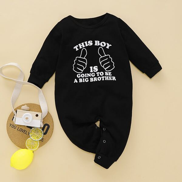 Baby Boy Slogan Print Popper Sweatshirt Jumpsuit
