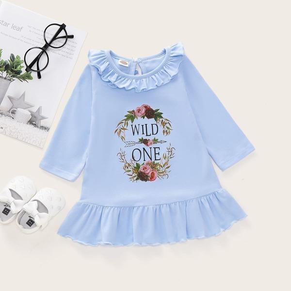 Baby Girl Floral Print Ruffle Hem Babydoll Dress